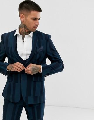 Harry Brown slim fit block geo suit jacket