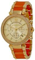 Michael Kors #MK6139 Women's en Peach Stainless Steel Crystal Accented Chronograph Watch