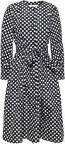 Carolina Herrera Belted Polka-dot Jacquard Dress