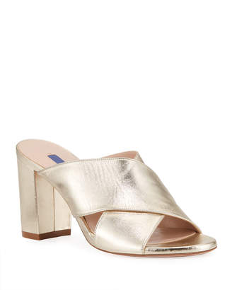 Stuart Weitzman Galene Metallic Crisscross Slide Sandals