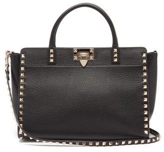 Valentino Rockstud Grained-leather Tote Bag - Black