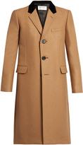 Saint Laurent Velvet-collar camel hair-blend overcoat