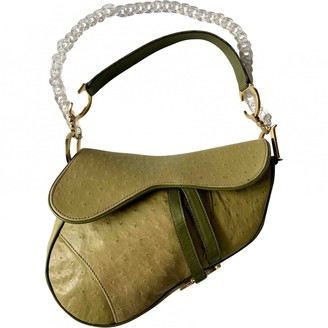 Christian Dior Saddle Green Ostrich Handbags
