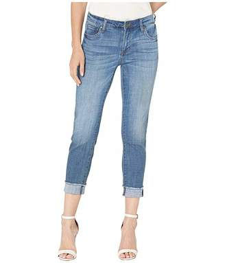 KUT from the Kloth Amy Crop Straight Leg Roll Up Fray Jeans in Adaptable w/ Medium Base Wash