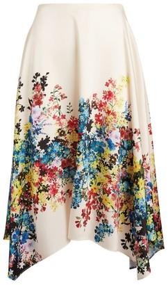 Paule Ka Floral Satin Midi Skirt