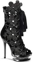 Pleaser USA Women's Fantasia 1020 - Black Suede/Pewter Chrome Heels