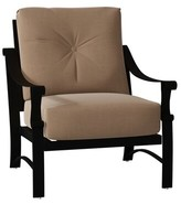 BEIGE Woodard Bungalow Patio Chair with Cushion Woodard Cushion Color: Canvas Heather Beige, Frame Color: Textured Black