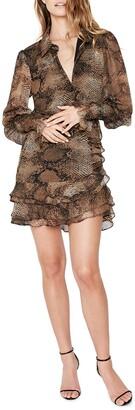 Bardot Bessie Snakeskin Print Ruffle Long Sleeve Minidress