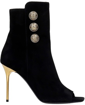 Balmain Roma High Heels Ankle Boots In Black Suede