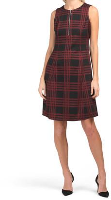 Plaid Zip Front Dress