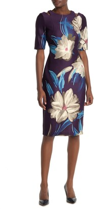 Gabby Skye Half Sleeve Scuba Midi Dress