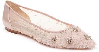 Badgley Mischka Adrienne Crystal Embellished Satin Ballerina Flats