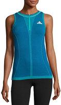 Stella McCartney Barricade Tennis Quarter-Zip Knit Tank Top, Hyper Green/Bold Blue