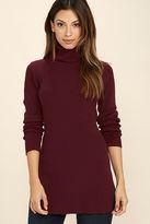 LuLu*s Vogue Vocation Burgundy Long Sleeve Tunic Top