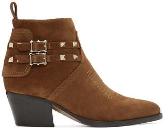 Valentino Brown Garavani Suede Rockstud Cowboy Boots