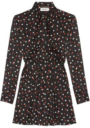 Saint Laurent Silk Patterned Mini Dress