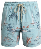 Faherty Palm tree-print swim shorts