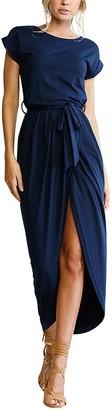 Yidarton Womens Casual Short/Long Sleeve Split Wrap Party Maxi Dresses(Navy Small)