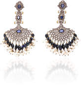 Sanjay Kasliwal Indo-Russian 14K Gold Pearl Sapphire and Diamond Earrings