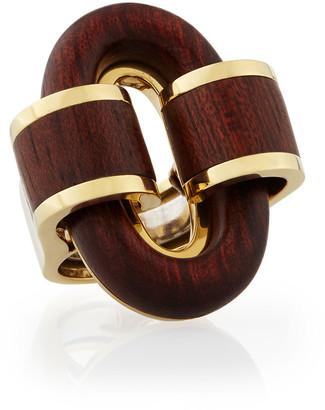 David Webb 18k Gold Bloodwood Buckle Ring, Size 6.5