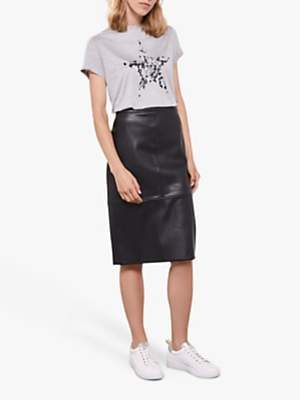 Mint Velvet Faux Leather Pencil Skirt, Black