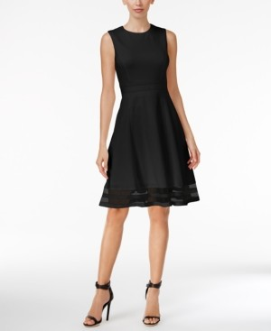 Calvin Klein Illusion-Trim Fit & Flare Dress, Regular & Petite Sizes