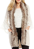 Jessica Simpson Powder Faux Fur Collar Sweater Vest