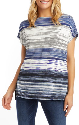 Karen Kane Oversize Variegated Stripe Boat Neck Top