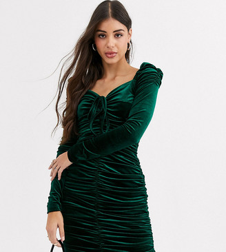 Glamorous Tall bodycon mini dress with ruching in velvet-Green