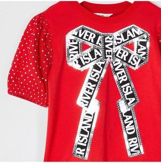Girls Sequin Spot Bow T-Shirt Dress - Red