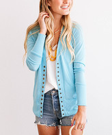 So Perla Affordable So Perla Affordable Women's Cardigans Baby - Baby Blue Snap-Button Cardigan - Women