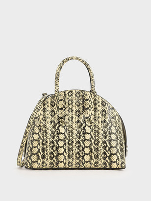 Charles & Keith Large Snake Print Dome Bag