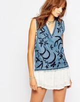 Pepe Jeans V Neck Denim Top With Embrodery