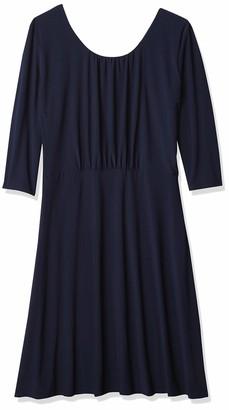 Star Vixen Women's Plus Size Elbow Sleeve Ity Knit Short Skater Waist-Seam Dress with Scoop Neckline and X Crossback Detail