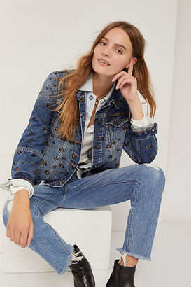 Driftwood Maryah Embroidered Denim Jacket By in Blue Size S