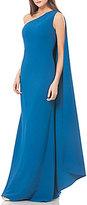 Carmen Marc Valvo One-Shoulder Cape Gown
