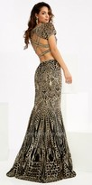 Jasz Couture Two Piece Sequin Gold Strappy Back Prom Dress