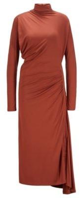 HUGO BOSS Stretch Jersey Maxi Dress With Asymmetric Hem - Brown