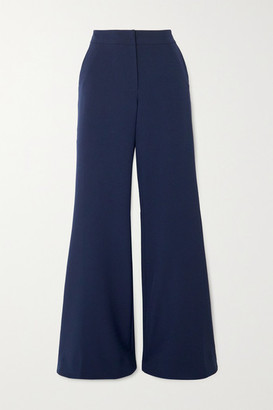 Saloni Ivy Crepe Flared Pants - Navy
