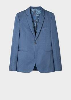 Paul Smith Men's Slim-Fit Blue Cotton And Linen Blazer
