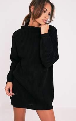 PrettyLittleThing Black Oversized Knit Jumper Dress