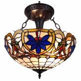 AMORA Amora Lighting AM076HL16 Tiffany Style Victorian Design 2-light Pendant Lamp