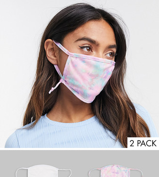 Skinnydip Exclusive 2 pack face covering with adjustable straps in plain white and tie dye print