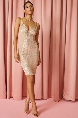 superdown Metallic Bodycon Dress