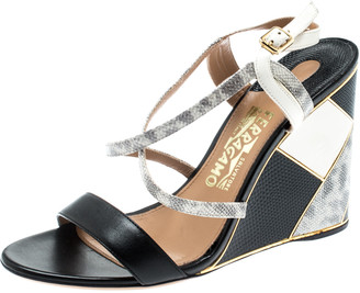 Salvatore Ferragamo Black Lizard Leather Gris Open Toe Cross Strap Wedge Sandals Size 37.5