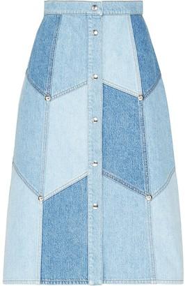Miu Miu patchwork effect A-line skirt
