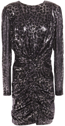 MSGM Leopard-print Ruched Sequined Tulle Mini Dress