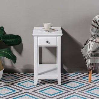 Rosecliff Heights Lowe Slim Single Drawer End Table Color: White