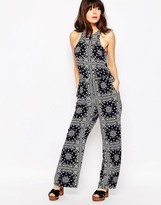 Brave Soul High Neck Mixed Print Jumpsuit
