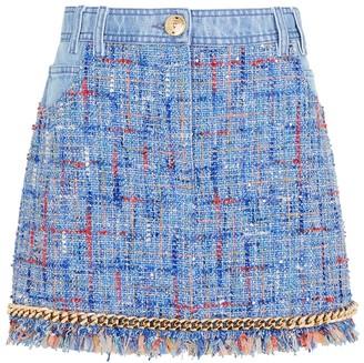 Balmain Chain-embellished tweed mini skirt
